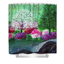 Shower Curtain featuring the painting Springtime Azaleas In Georgia by Sonya Nancy Capling-Bacle