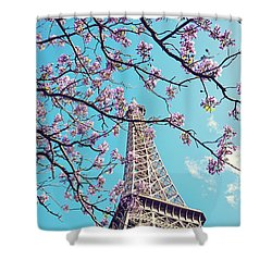 Springtime In Paris - Eiffel Tower Photograph Shower Curtain by Melanie Alexandra Price