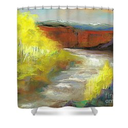 Shower Curtain featuring the painting Springtime In The Rockies by Frances Marino