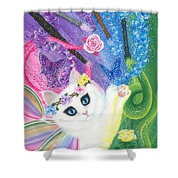 Shower Curtain featuring the painting Springtime Magic - White Fairy Cat by Carrie Hawks