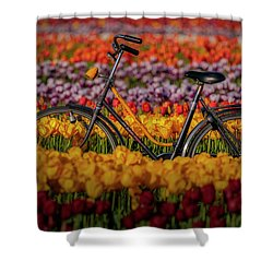 Shower Curtain featuring the photograph Springtime Tulips And Bike by Susan Candelario