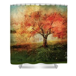 Shower Curtain featuring the digital art Sprinkled With Spring by Lois Bryan