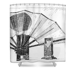 Spirit Of Japan. Fan And Matchbox Shower Curtain
