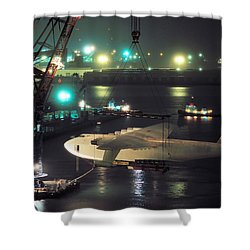 Spruce Goose Hanging From Crane February 10 1982 Shower Curtain by Brian Lockett