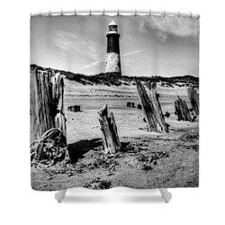 Spurn Point Lighthouse And Groynes Shower Curtain