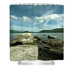 Squam Lake On The Rocks Shower Curtain by Rick Frost