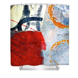Shower Curtain featuring the painting Square Collage No. 3 by Nancy Merkle