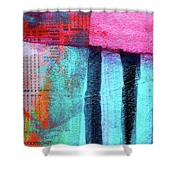 Shower Curtain featuring the painting Square Collage No 4 by Nancy Merkle