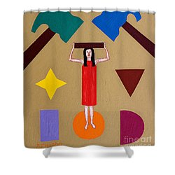 Square Peg Round Hole Shower Curtain by Patrick J Murphy