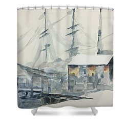 Shower Curtain featuring the painting Square Rigger by Stan Tenney