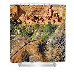 Square Tower House At Mesa Verde National Park - Colorado - Pueblo Shower Curtain by Jason Politte