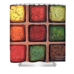 Squared In Bronze Shower Curtain
