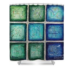 Squared In Silver  Shower Curtain