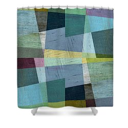 Squares And Shims Shower Curtain by Michelle Calkins