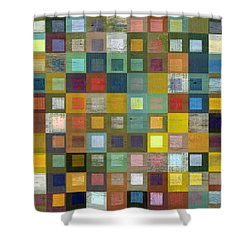 Squares In Squares Five Shower Curtain by Michelle Calkins