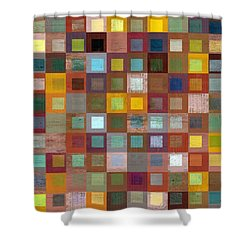 Squares In Squares Four Shower Curtain by Michelle Calkins