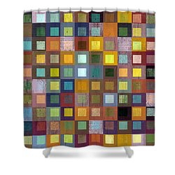 Squares In Squares One Shower Curtain by Michelle Calkins