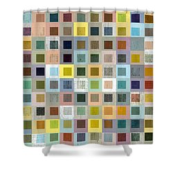 Squares In Squares Three Shower Curtain by Michelle Calkins