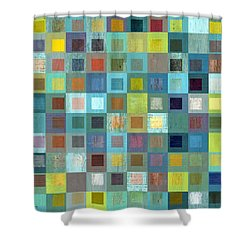 Squares In Squares Two Shower Curtain by Michelle Calkins
