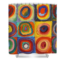 Squares With Concentric Circles Shower Curtain by Wassily Kandinsky
