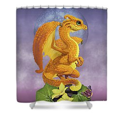 Shower Curtain featuring the digital art Squash Dragon by Stanley Morrison