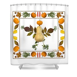 Squash With Pumpkin Head Shower Curtain