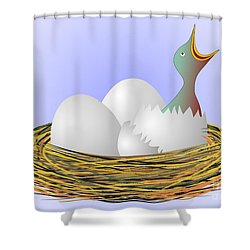 Squeaker Hatching From Eggs Shower Curtain