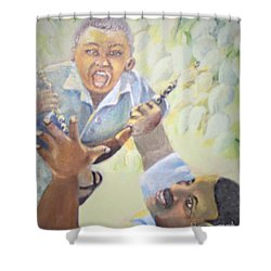 Shower Curtain featuring the painting Squeals Of Joy by Saundra Johnson