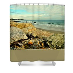 Squibby Cliffs And Mackerel Sky Shower Curtain