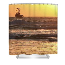 Squid Boat Golden Sunset Shower Curtain