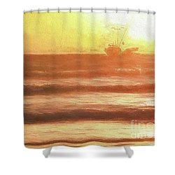 Squid Boat Sunset Shower Curtain