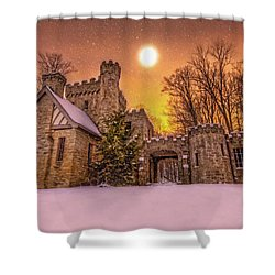 Squires Castle In The Winter Shower Curtain by Brent Durken