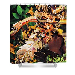 Shower Curtain featuring the mixed media Squirrel Glider Collage by Shawna Rowe