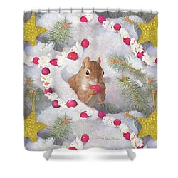 Shower Curtain featuring the painting Squirrel In Snow With Cranberries by Nancy Lee Moran