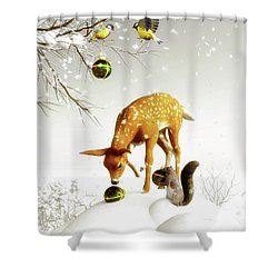 Squirrels And Deer Christmas Time Shower Curtain