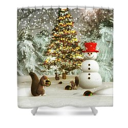 Squirrels Decorating Christmas Shower Curtain