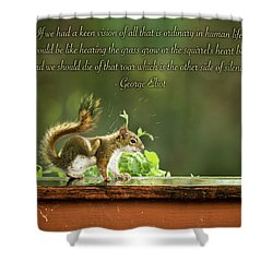 Shower Curtain featuring the photograph Squirrel's Heart Beat-george Eliot by Onyonet  Photo Studios