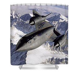 Shower Curtain featuring the photograph Sr-71b Blackbird In Flight by Stocktrek Images