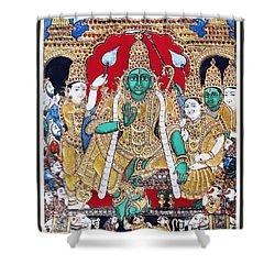 Shower Curtain featuring the painting Sri Ramar Pattabhishekam by Ragunath Venkatraman