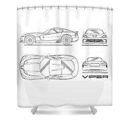 Srt Viper Blueprint Shower Curtain