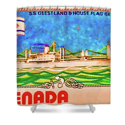 S.s Geestland And House Flag Geest Line Shower Curtain
