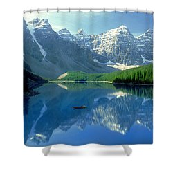S.short Canoeist, Moraine Lake, Ab, Fl Shower Curtain by Steve Short