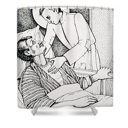 Shower Curtain featuring the drawing St Aloysius Gonzaga- Patron Of People With Hiv-aids And Caregivers 1987 by William Hart McNichols