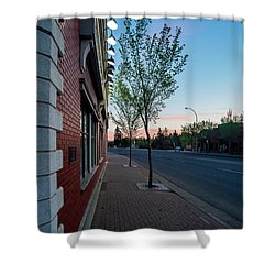 Shower Curtain featuring the photograph St. Anne Street At Dusk by Darcy Michaelchuk