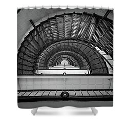 St Augustine Florida Lighthouse Anastasia Island Fl Black And White Architecture Shower Curtain