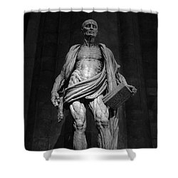 St. Bartholomew In Milan Cathedral By Marco D'agrate In Black And White Shower Curtain
