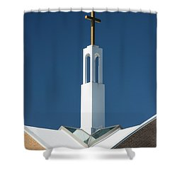 Shower Curtain featuring the photograph St Benedicts Church Rooftop by Gary Slawsky