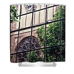 St Boniface Church In Reflection  Shower Curtain by Sarah Loft