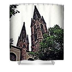 St Boniface Church Towers   Shower Curtain by Sarah Loft