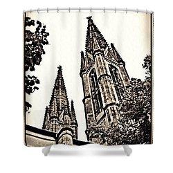 St Boniface Church Towers Sepia Shower Curtain by Sarah Loft